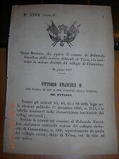 REGIO DECRETO 1877 SEPARA COMUNE PALAZZOLO VERCELLESE DA TRINO  SEZ  CRESCENTINO