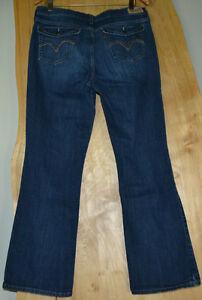 Womens-Size-14-LEVIS-515-Denim-Dark-Blue-Wash-Jeans-Boot-Cut-Pants-Cute-Pockets