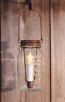 Mason Jar Star Lid Candle Holder Rusty Primitive Country Rustic Light