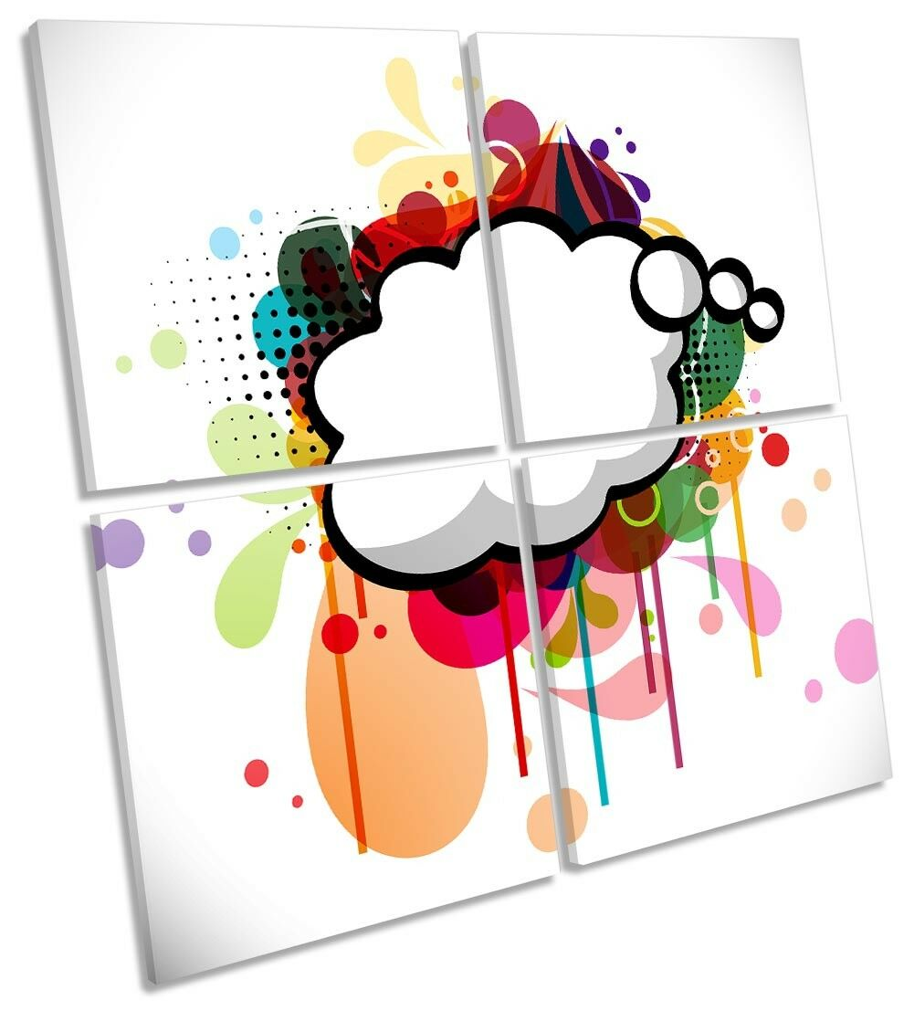 Abstract Graffiti Cloud Framed MULTI CANVAS PRINT Art Square