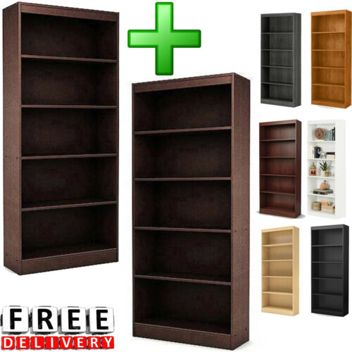 Bookcase Cabinet 2 Pc 5 Shelf Storage Organizer Home Wooden Tall Oak Display
