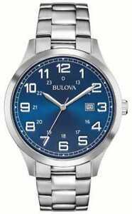 BULOVA  96B273 Men Dress Watch Blue Dial Stainless Steel Quartz Brand New w Box