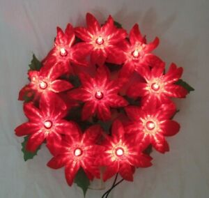 Pointsetta Christmas Tree.Details About Vintage Lighted Poinsettia Christmas Tree Topper Sweet