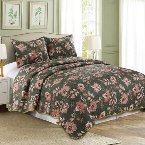 Jacobea Green 3 Pieces Microfiber Reversible Queen//King Quilt Set with Shams