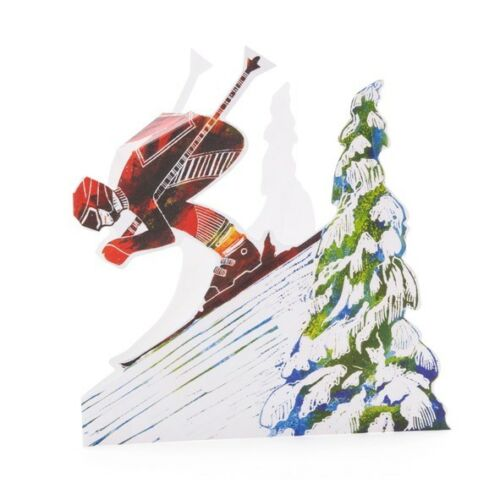Downhill Skier Judy Lumley 3-D Pop Up Greetings Card with Envelope