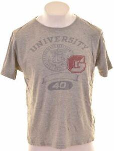 Gant-grafico-de-hombre-T-Shirt-Top-Algodon-Gris-Grande-IN08