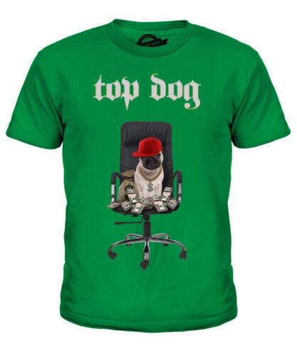 TOP DOG KIDS FUNNY PRINTED T-SHIRT PUG DOG WITH DOLLARS MONEY PUGS LIFE GIFT