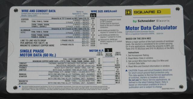 Square D Motor and Transformer Data Calculator