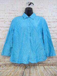 03116e9fb6cc7 Ann Taylor LOFT Women s Blue Wrinkle Look Button Down 100% Silk ...