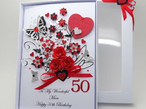Personalised Handmade Fête Mères Mum Carte d/'anniversaire 40 th 50 th 60th avec boite