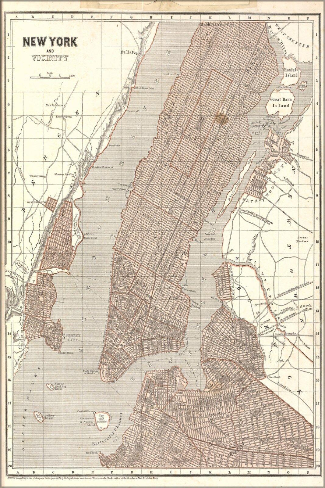 Poster, Many Größes; Map Of New York City & Vicinity 1842