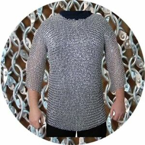 9 mm round Riveted Chain mail Hubergion half sleeve Shirt medium size shirt