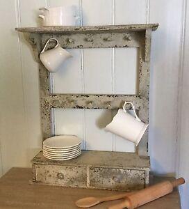 Antique Chic Style French Grey Shelf Rack Kitchen Shabby Hook
