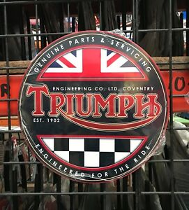 NEW-Triumph-Motor-Cycle-355mm-Round-tin-metal-sign-bonneville