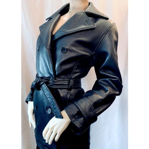 Stone Mountain Black Leather Belted Jacket M