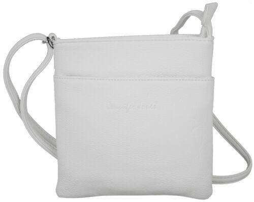 Kleine Damen Umhängetasche Sehr elegante Schultertasche weiß hellgrau Handtasche