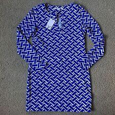 NWT Diane von Furstenberg DvF Long Sleeve Reina Dress Blue Zig Zag Print SZ 6 S