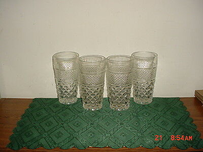 "4-PIECE ANCHOR HOCKING ""WEXFORD"" 6 1/4"" TUMBLERS/VINTAGE SET/AS IS/CLEARANCE!"