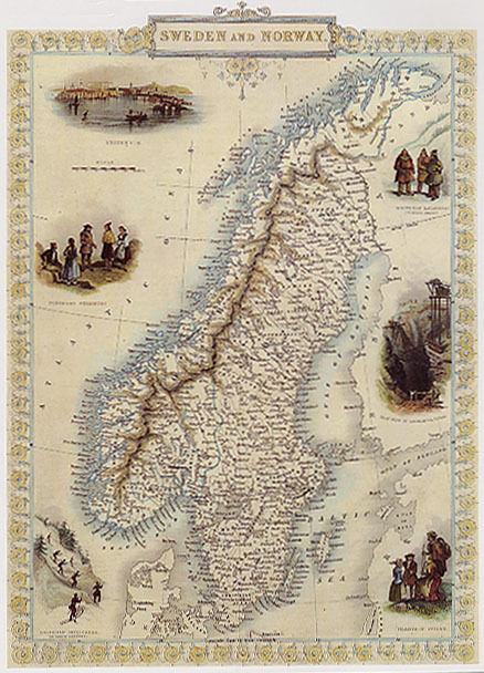 """1800'S MAP SWEDEN NORWAY STOCKHOLM BALTIC TRAVEL VINTAGE POSTER REPRO 12""""X16"""""""