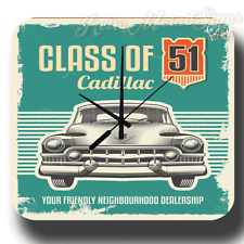 CLASS OF CADILLAC VINTAGE GARAGE WORKSHOP RETRO METAL TIN SIGN WALL CLOCK