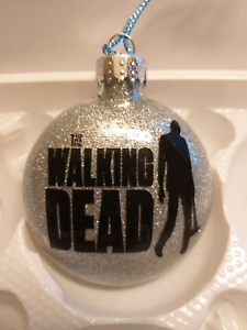 Details About Walking Dead Zombie Horror Silver Glitter Christmas Ornament
