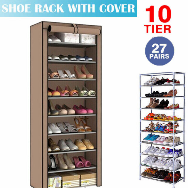 10 Tier Shoe Rack Cabinet 20-30 Pairs with Cover Wall Bench Shelf Shoe Tower