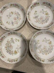 """Crescent Fine China Fleur De Paradis salad  Porcelain Bwl Gold Trim 71/2"""" Set/4"""