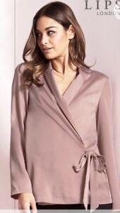BNWT-Lipsy-Pink-Wrap-Satin-Jacket-Blazer-Size-14-RRP-42