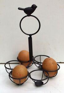 Egg-Holder-Caddy-Basket-Brown-Song-Bird-6-Egg-Shabby-Chic-Metal-Kitchen-New