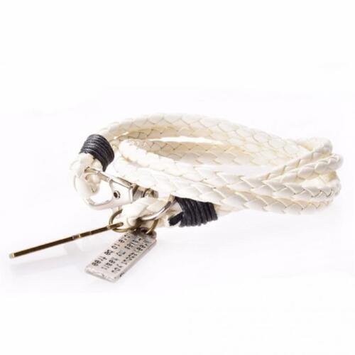 Men/'s Women/'s Fashion Braided Leather Bracelet Black Retro Cross Charm TK9-2