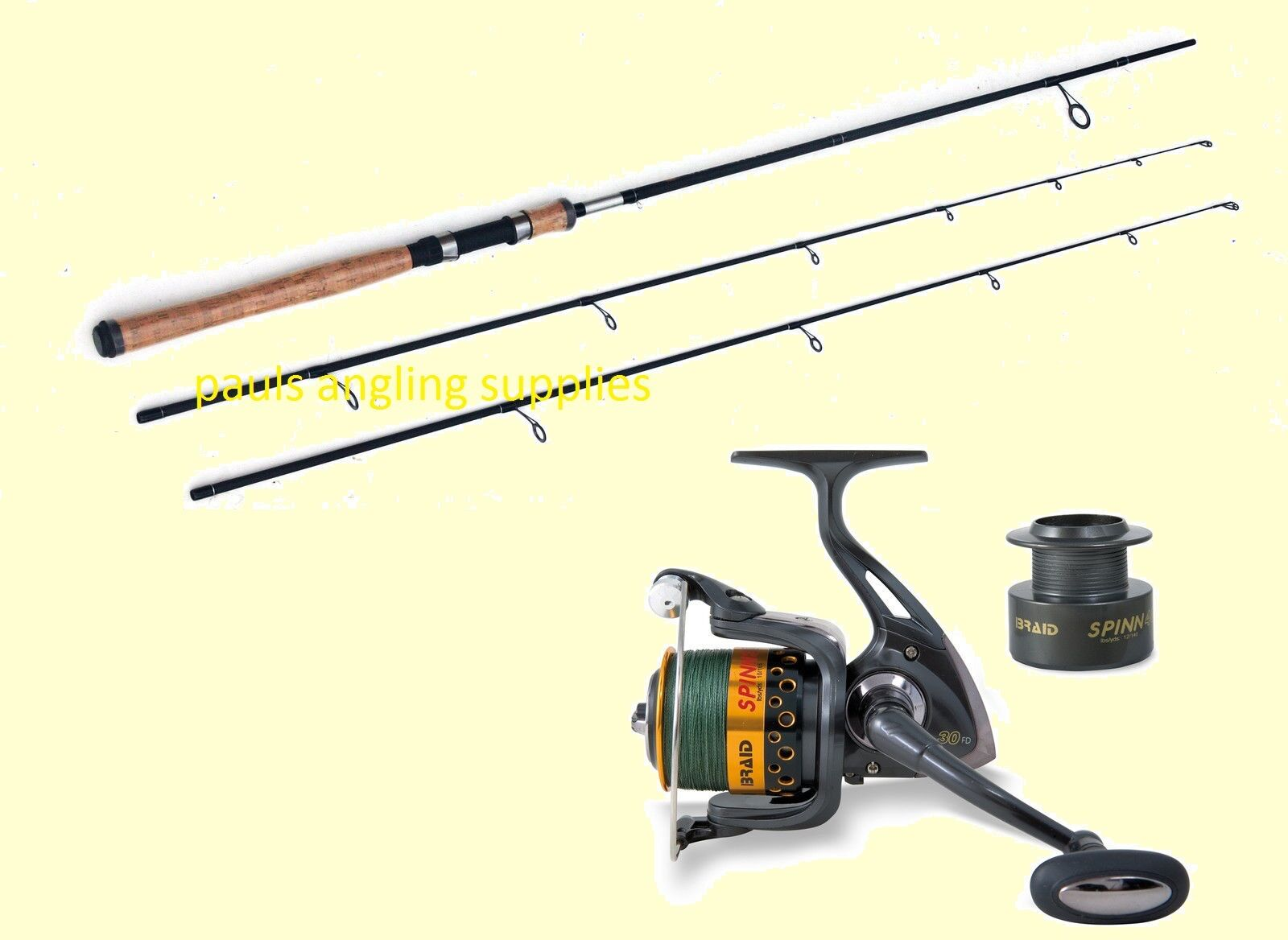 Carbon Twin Top Spinning Rod-2 top spin rod & Braid Spin 030 Reel With Braid