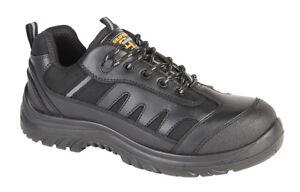 Aimable Grafters M462a Homme Noir Taille 10 Non Métallique De Sécurité En Cuir Chaussures Baskets-afficher Le Titre D'origine Les Clients D'Abord