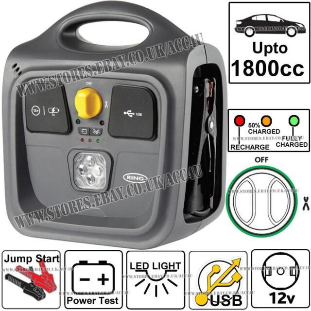 Ring RPP148 Portable 12v 500A 1800cc Car Battery Jump Starter LED USB Power Pack