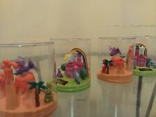 "4 X New Solar Fluttering Purple Dinosour & White Horse Dancing in 3"" H Globe"