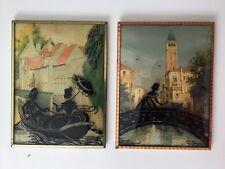 Antique Vintage Pair Of Reverse Painted Silhouette Convex Bubble Glass Pictures