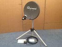 Portable Compact Zone 1 Satellite Dish Caravan Camping Kit + Tripod + Satfinder