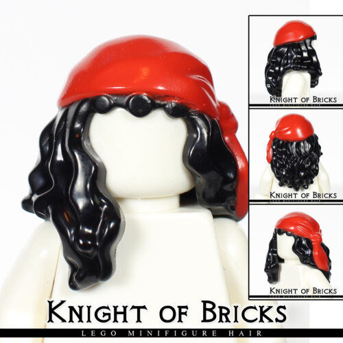 LEGO Minifigure Hair BLACK 11254pb02 Female Mid-Length Part Front w RED Rag Wrap