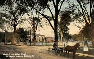 Ossining-NY-Mt-Pleasant-Academy-Horse-Buggy-Broad-Avenue-amp-State-Street-1908