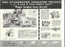 STUDEBAKER TRANSTAR TRUCK LORRY SALES BROCHURE/SHEET USA MARKET 1961