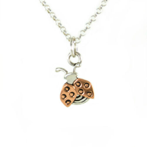 Ladybug Charm Pendant ONLY Sterling Silver /& Copper Far Fetched Artisan Gift Box