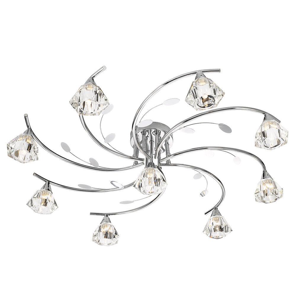 acquista online oggi Searchlight 9 Luci Cromo Moderno Soffitto Di Vetro Luce Lampadario Lampadario Lampadario Raccordo Scarico  esclusivo