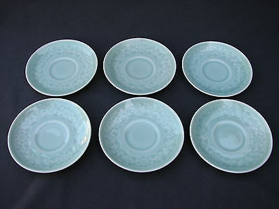6 Chinese Longquan Green Celadon Porcelain Floral Saucer Plates Good Condition