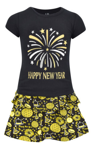 Girls Happy New Year 2 Piece Skirt Set Outfit Boutique Toddler Kids Clothes