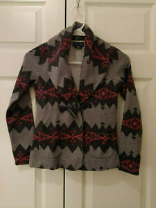 Girl-Ralph-Lauren-Gray-Aztec-Toggle-Jacket-Cardigan-Sweater-Size-M-8-10