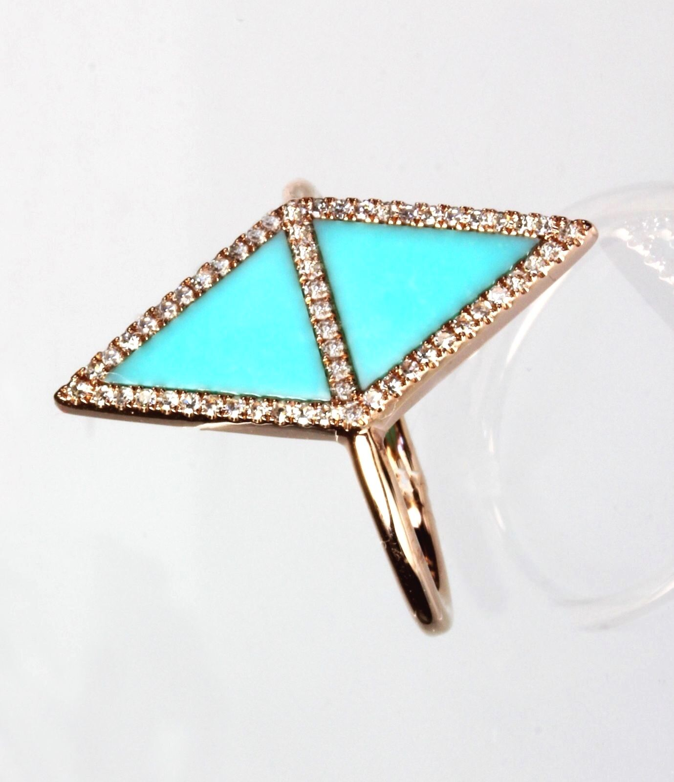 14k Yellow or pink gold Turquoise & Diamond Ring  ( Dia 0.19cts, TQ 0.88cts)