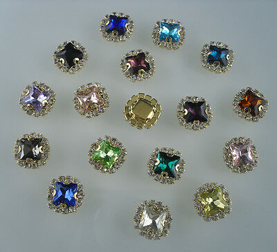square 8mm glass crystal faceted around clear rhinestones gold cup bottom sew