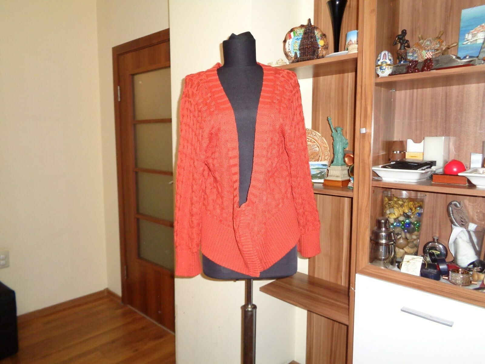 3cbcf00089f9 GUDRUN SJODEN COTTON LINEN BURNT orange CABLE CROPPED CARDIGAN-XL SILK KNIT  pxfuuv21070-Jumpers & Cardigans