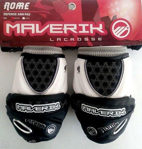NEW Maverik Rome Lacrosse Attack Arm Guard Size-M Black//White