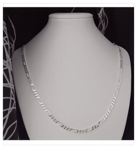 Chaîne Maille Figaro Diamantée  45cm Argent Massif 925//1000 Bijoux Mixte NEUVE