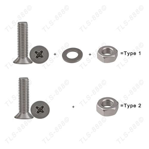 M5*6-40mm Phillips Countersunk Screw Bolt+Nut+Flat Washer Kit A2//304SS Var.Match